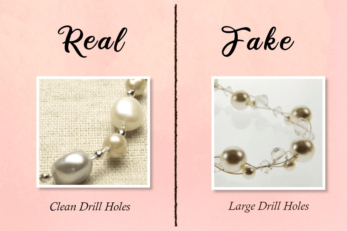 fake vs real pearls - drill holes
