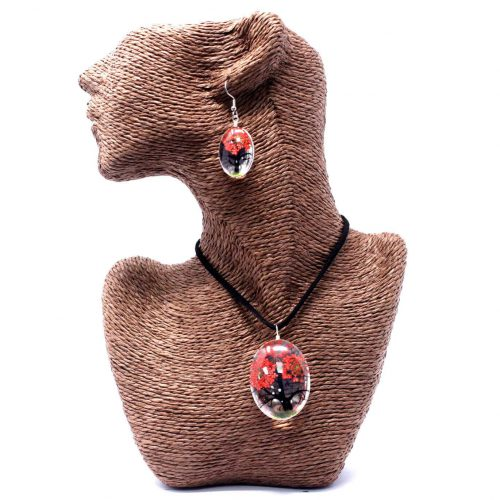 Red Pressed Flower Necklace Set With Earrings