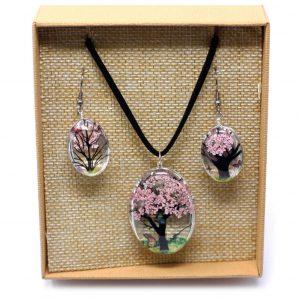blossom pressed flower necklace set 1