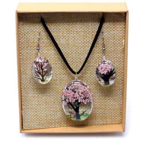 blossom pressed flower necklace set 1