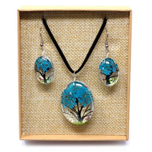 blue pressed flower necklace set