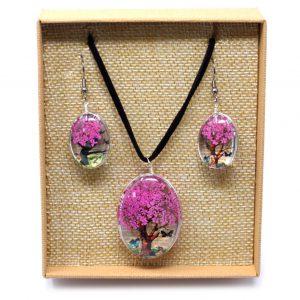 bright pink pressed flower necklace set